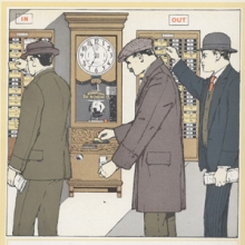 men using a time clock to punch in