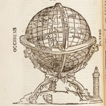 detail of a print showing a globe on a stand