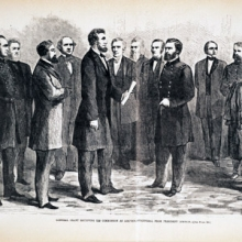 Illustration from Harper's Weekly showing Abraham Lincoln and Ulysses S. Grant.