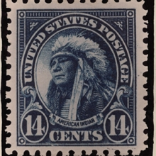 14 cent stamp with a portrait of a Native American