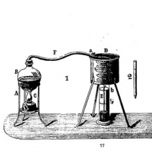 """illustration of a """"spirit gauge"""" or alembic from a scientific instrument catalog"""