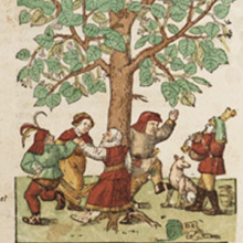 Woodblock print of medieval Europeans dancing around a tree.