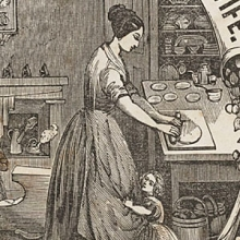detail of woman rolling out dough on a table with a child clinging to her skirts