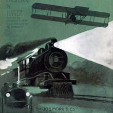 illustration showing a bi-plane, train, and automobile