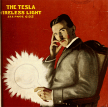 Tesla holding a large lightbulb