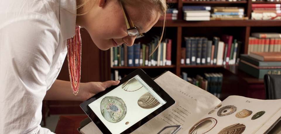 A librarian compares the digital version of a book on an iPad to the original book on a table.