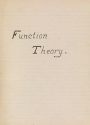 "Cover of ""Function theory"""