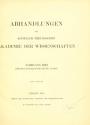 Cover of Abhandlungen der Königlich Preussischen Akademie der Wissenschaften