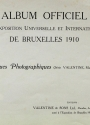 Cover of Album officiel de l'Exposition Universelle et Internationale de Bruxelles 1910