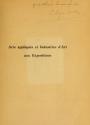 """Cover of """"Arts appliqués et industries d'art aux expositions"""""""