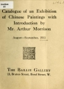 """Cover of """"Catalogue of a exhibition of Chinese paintings with introduction by Mr. Arthur Morrison"""""""