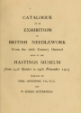 """Cover of """"Catalogue of an exhibition of British needlework from the 16th century onward"""""""