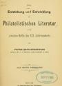Cover of Die Entstehung und Entwicklung der philatelistischen Literatur in der zweiten Hälfte des XIX. Jahrhunderts