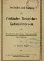 Cover of Geschichte und Katalog der Vorläufer deutscher Kolonialmarken
