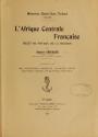 """Cover of """"L'Afrique centrale française"""""""