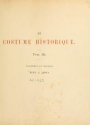 "Cover of ""Le costume historique"""