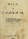Cover of Memoirs of Elleanor Eldridge