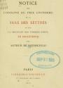Cover of Notice sur l'origine du prix uniforme de la taxe des lettres et sur la création des timbres-poste en Angleterre