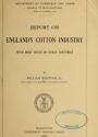 """Cover of """"Report on England's cotton industry"""""""
