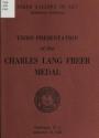 "Cover of ""Third presentation of the Charles Lang Freer medal, September 15, 1965"""