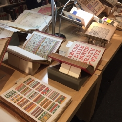 Pattern books on display in Dibner Library
