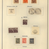 stamp collector's page with labeled stamps