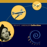 graphic with headshot of a woman from the 1940s in a circle looking at a plane