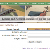 Screen capture from the old website showing the title Library and Archival Exhibitions on the Web