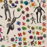 Photo of a page of an artists book depicting a stylized drawing of people, animals, and flowers.