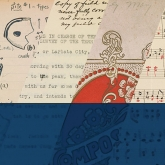 collage of stamps, scanned book images and sheet music