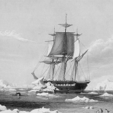 image of a three-masted ship sailing through icy seas