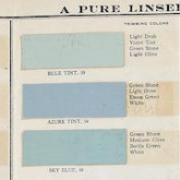 A banner-shaped image of paint samples from a Benjamin Moore catatalog. The colors are light pastels- yellow, pink, blue, green and orange. The text on the left reads House Colors, A Pure Linseed Oil Paint