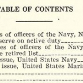 part of the table of contents for Navy directory - officers of the United States Navy and Marine Corps etc.,1941