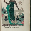Plate from Guirlande , 1920 showing a drawing of a woman in a fancy dress.