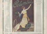 """Cover of Columbia bicycle catalog, 1912, showing a woman kneeling painting the words """"Columbia"""" while crowning a bicycle with a laurel wreath."""