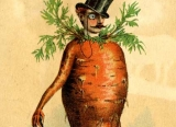 Trade card of seed company depicting a carrot with top hat and cane