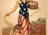 Illustration of a woman wearing a red, white and blue stars and strips dress in a dirt field. She carries a basket of seeds which she is throwing onto the ground as she walks.
