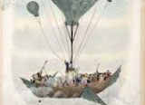 Image of the hull of a wooden ship carried by one large balloon and many smaller balloons. The people on the deck are dressed in 19th formal clothing and some are peering through telescopes.