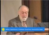 Dr. Applebaum at the podium beginning the lecture
