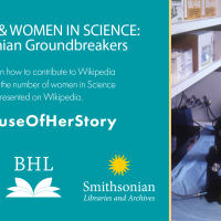 Graphic for Women in Science Wikipedia event featuring photo of woman looking through microscope.