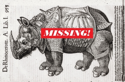 Wonder the Rhino with a Missing sign on its belly